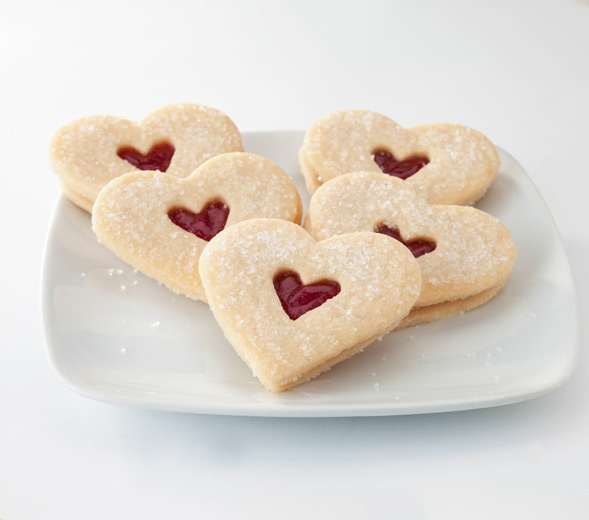 Shortbread Raspberry Hearts | Pastiche Fine Desserts